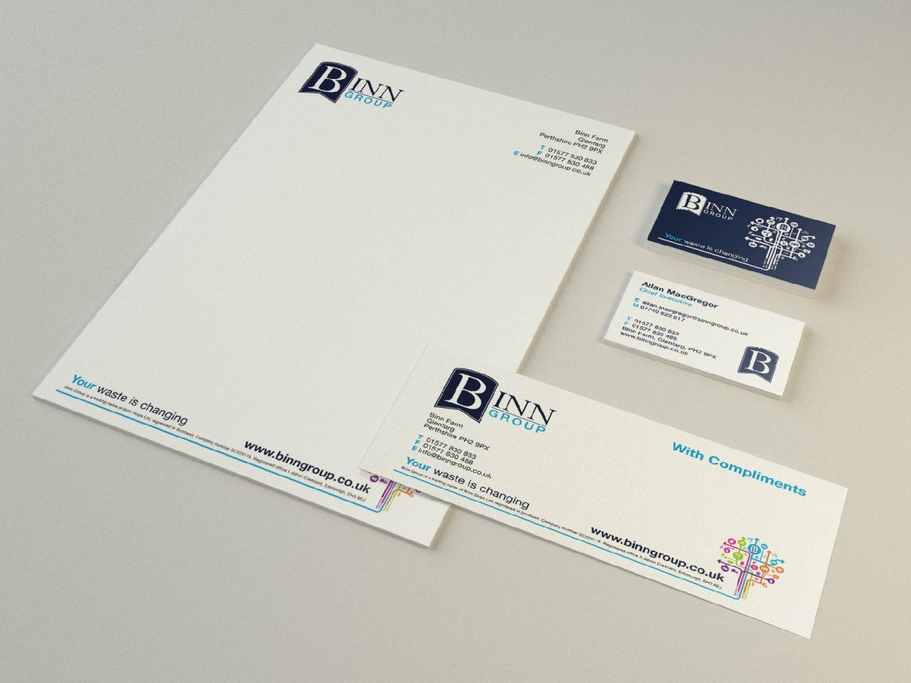 Home winter and simpson print delivering high quality binn group stationery set showing branded letterhead business cards and compliment slip reheart Image collections